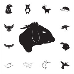 Black silhouette of sheep head icon. Set of animal icons. You can use in web or app icons