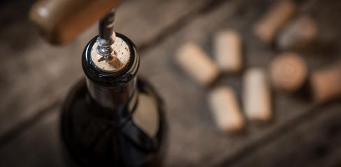 Opening wine bottle celebration background