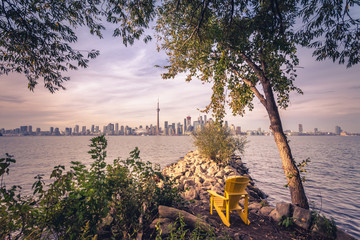 Wall Murals Toronto View of Toronto city during sunset from Toronto Central Island