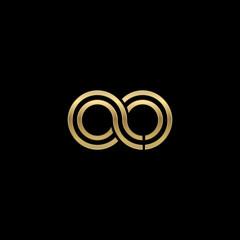 Initial lowercase letter ao, linked outline rounded logo, elegant golden color on black background