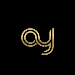 Initial lowercase letter ay, linked outline rounded logo, elegant golden color on black background