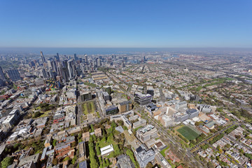 Aerial view of Royal Melbourne Hospital, looking south-west to CBD and Docklands