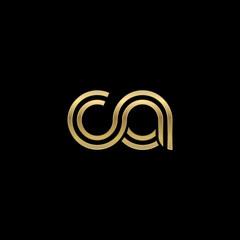 Initial lowercase letter ca, linked outline rounded logo, elegant golden color on black background