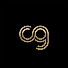 Initial lowercase letter cg, linked outline rounded logo, elegant golden color on black background