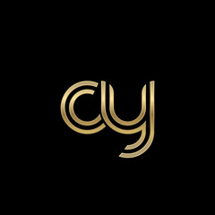 Initial lowercase letter cy, linked outline rounded logo, elegant golden color on black background