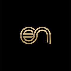 Initial lowercase letter en, linked outline rounded logo, elegant golden color on black background