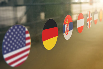 Flag stickers on window