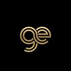 Initial lowercase letter ge, linked outline rounded logo, elegant golden color on black background