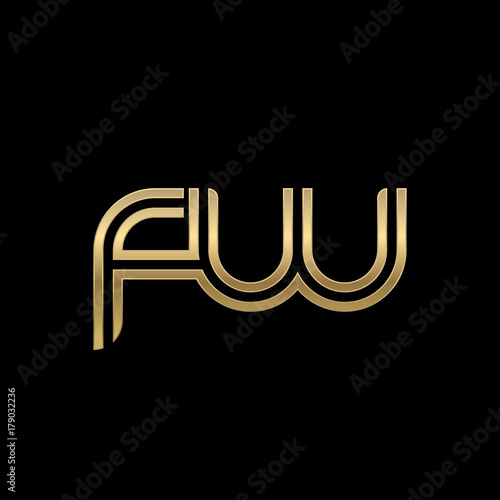 """Initial Lowercase Letter Fw, Linked Outline Rounded Logo"