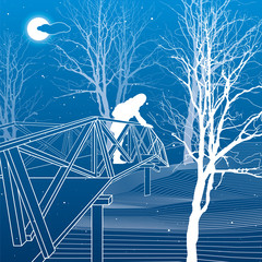 Girl on the bridge, branches of trees, winter scene, night park, white lines illustration on blue background. vector design art