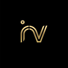 Initial lowercase letter iv, linked outline rounded logo, elegant golden color on black background