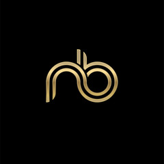 Initial lowercase letter nb, linked outline rounded logo, elegant golden color on black background
