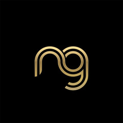 Initial lowercase letter ng, linked outline rounded logo, elegant golden color on black background
