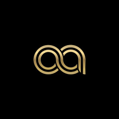 Initial lowercase letter oa, linked outline rounded logo, elegant golden color on black background