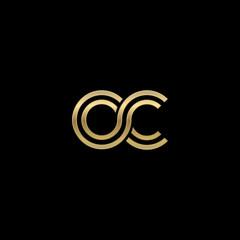 Initial lowercase letter oc, linked outline rounded logo, elegant golden color on black background