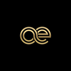 Initial lowercase letter oe, linked outline rounded logo, elegant golden color on black background