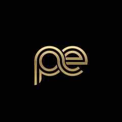 Initial lowercase letter pe, linked outline rounded logo, elegant golden color on black background