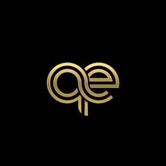 Initial lowercase letter qe, linked outline rounded logo, elegant golden color on black background