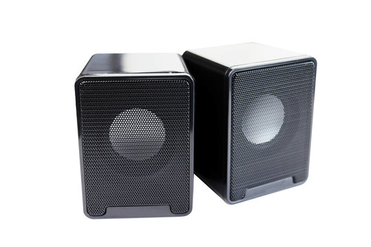 computer speakers on white
