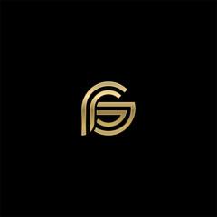 Initial lowercase letter rs, linked outline rounded logo, elegant golden color on black background