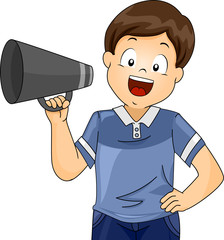 Kid Boy Student Director Megaphone Illustration