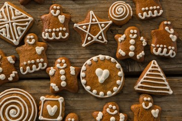 Overhead view of various ginger bread cookies
