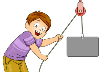 Kid Pulley Simple Machine Illustration