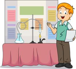 Kid Boy Science Fair Presentation Illustration