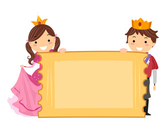 Stickman Kids Royalty Ticket Board Illustration