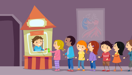 Stickman Kids Theater Ticket Booth Illustration