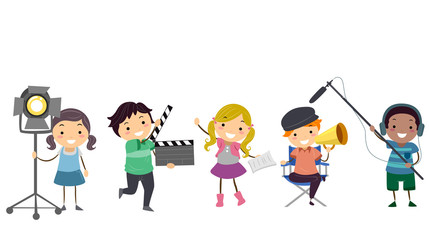 Stickman Kids Theater Roles Illustration