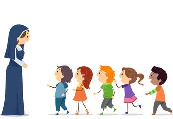 Stickman Kids Nun Line Illustration