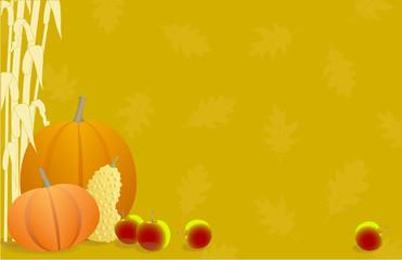 Autumn Pumpkins, Apples, Gourds and Cornstalks Background