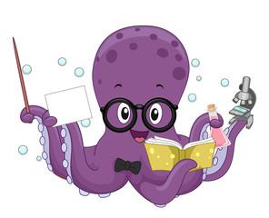 Octopus Science Teacher Illustration