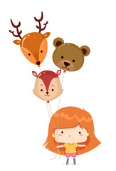 Kid Girl Woodland Animals Balloons