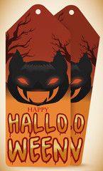 Tags for Halloween Celebration with Bat Heads and Branches, Vector Illustration
