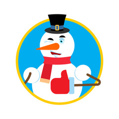 Snowman thumbs up winks emoji. New Year and Christmas vector illustration