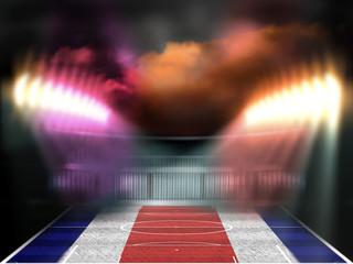 Football stadium with Costa Rica flag textured field. Night scene. Photo manipulation