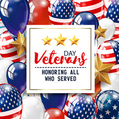 Veterans day greeting illustration. White plate with lettering on patriotic background. Vector