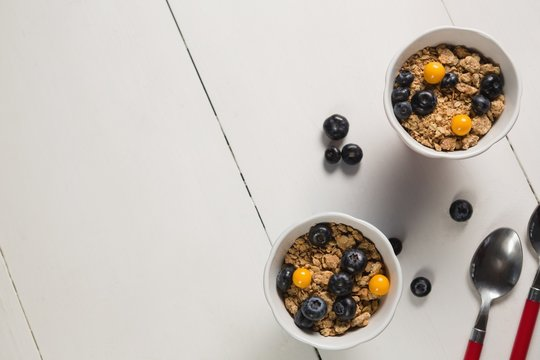Bowl of breakfast cereals with spoon