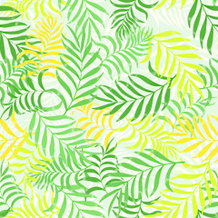 Tropical background with palm leaves. Seamless floral pattern