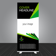 simple black and green standee roll up banner design with business information