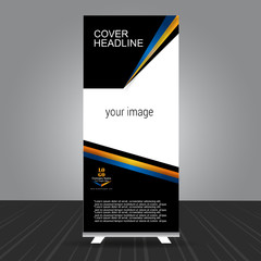 simple black, golden and blue standee roll up banner design with business information