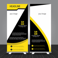 simple black and yellow standee roll up banner design with business information