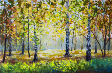 Green meadow grass in the autumn forest. Autumn forest - Original oil painting white birch trees in autumn forest. Beautiful  golden autumn landscape.