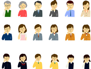 家族 3世代 夫婦 老人 親子 学生 子供悩む 考える 困る