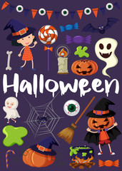 Halloween poster with kids in costumes