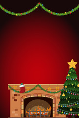 Background design with fireplace and christmas tree