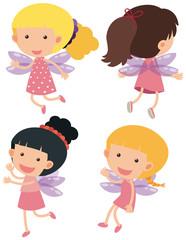 Four fairies flying on white background