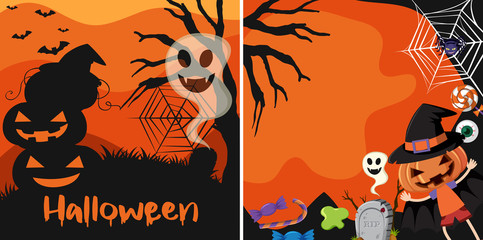 Two halloween cards with jack-o-lantern